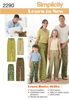 2290 Simplicity Pattern: Child's, Teens' and Adults' Drawstring Trousers